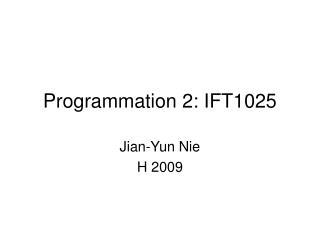 Programmation 2: IFT1025