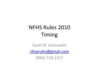 NFHS Rules 2010  Timing