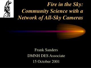 Frank SandersDMNH DES Associate15 October 2001