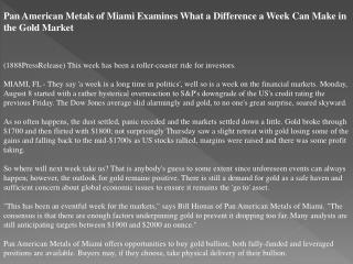 pan american metals of miami examines what a difference a we