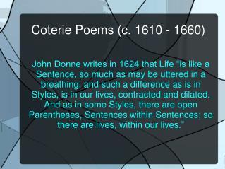 Coterie Poems (c. 1610 - 1660)