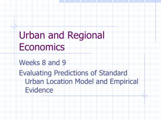 Urban and Regional Economics