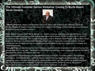 The 'Ultimate Customer Service Workshop' Coming To Myrtle