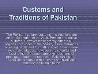 Customs and Traditions of Pakistan