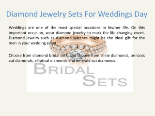 Diamond Jewelry Sets For Weddings Day