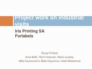 Project work on industrial visits