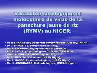 Variabilit  s rologique et mol culaire du virus de la panachure jaune du riz RYMV au NIGER.