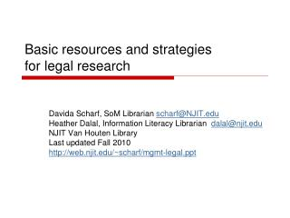 Basic resources and strategies  for legal research