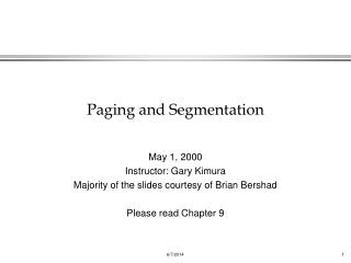 Paging and Segmentation