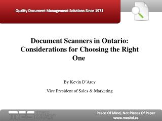 document scanners in ontario:  considerations for choosing t