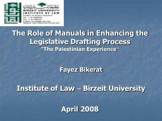 Introduction to Legislative Drafting Manuals