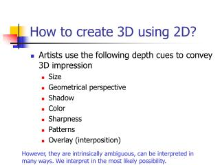 How to create 3D using 2D?