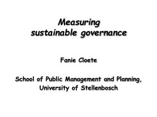 Measuring  sustainable governance