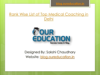 Rank Wise List of Top Medical Coaching in Delhi