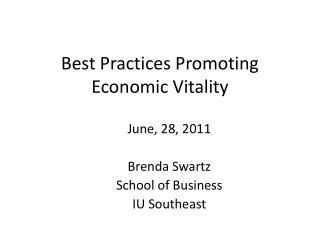 Best Practices Promoting Economic Vitality