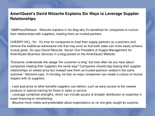AmeriQuest's David Nitzsche Explains Six Ways to Leverage