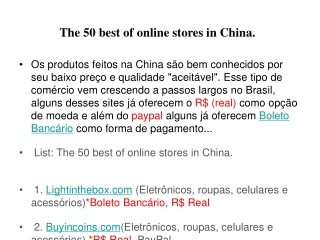 The 50 best of online stores in China