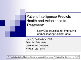 patient intelligence predicts health and adherence to treatment: