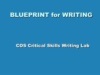 BLUEPRINT for WRITING