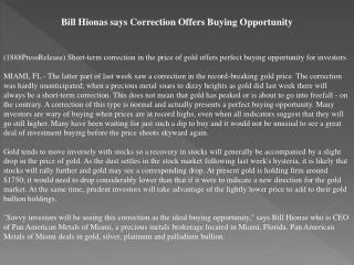 bill hionas says correction offers buying opportunity