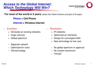 access to the global internet: which technology will win