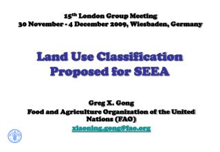 Land Use Classification Proposed for SEEA