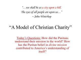 """A Model of Christian Charity"""