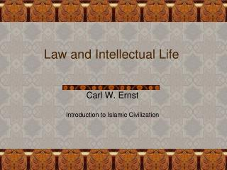 Law and Intellectual Life