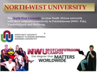 Education in Potchefstroom Campus of the North West Universi