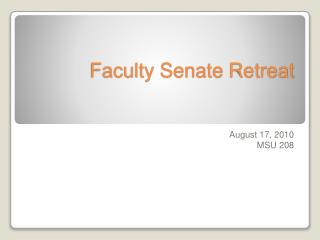 Faculty Senate Retreat