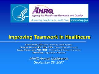 Improving Teamwork in Healthcare