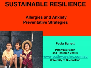 Paula Barrett Research about Allergy and Anxiety