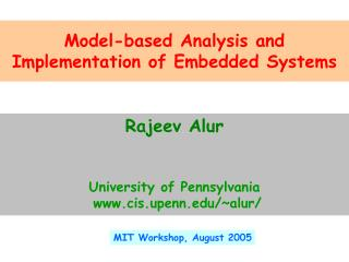 MIT Workshop, August 2005
