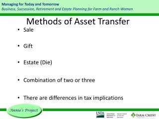 Methods of Asset Transfer