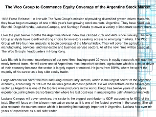 The Woo Group to Commence Equity Coverage of the Argentine