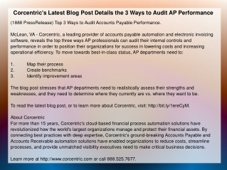 Corcentric's Latest Blog Post Details the 3 Ways to Audit