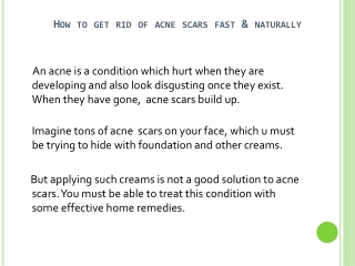 Natural Cure For Acne Scar