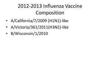 2012-2013 Influenza Vaccine Composition