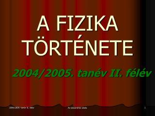 2004/2005. tanév II. félév