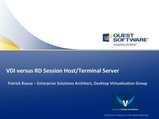 VDI versus RD Session Host/Terminal Server