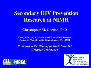 Secondary HIV Prevention Research at NIMH