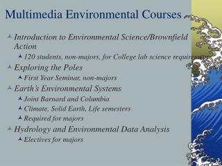Multimedia Environmental Courses