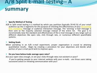 A/B Split E-mail Testing-- A summary
