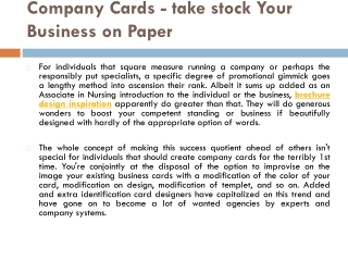 Company Cards - take stock Your Business on Paper