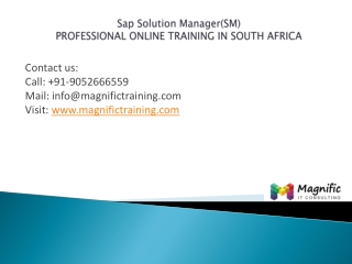 SAP Solution Manager(SM)professionaltraining in southafrica,