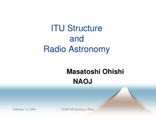 ITU Structure  and  Radio Astronomy
