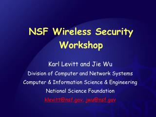NSF Wireless Security Workshop