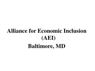 alliance for economic inclusion aei baltimore, md