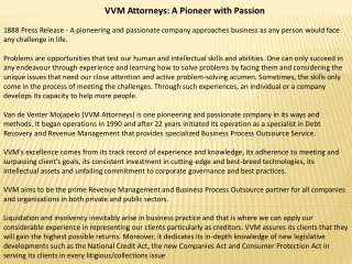 VVM Attorneys: A Pioneer with Passion