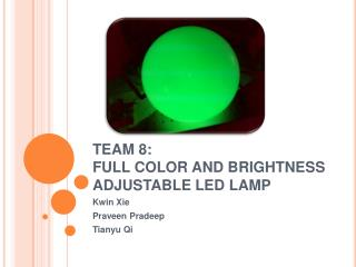 TEAM 8: FULL COLOR AND BRIGHTNESS ADJUSTABLE LED LAMP
